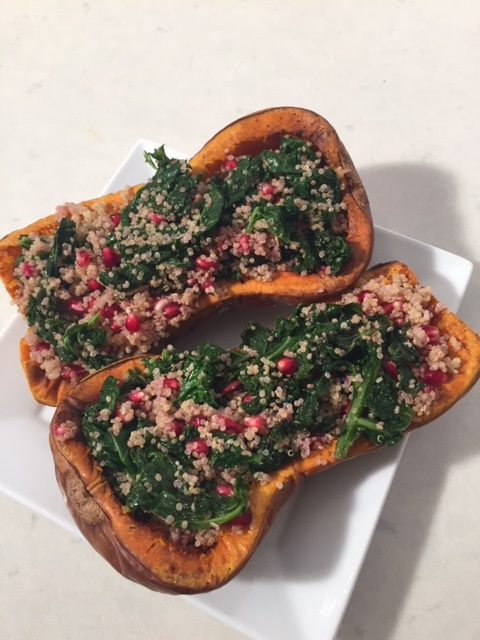 Stuffed Butternut Squash with Quinoa, Pomegranate and Kale