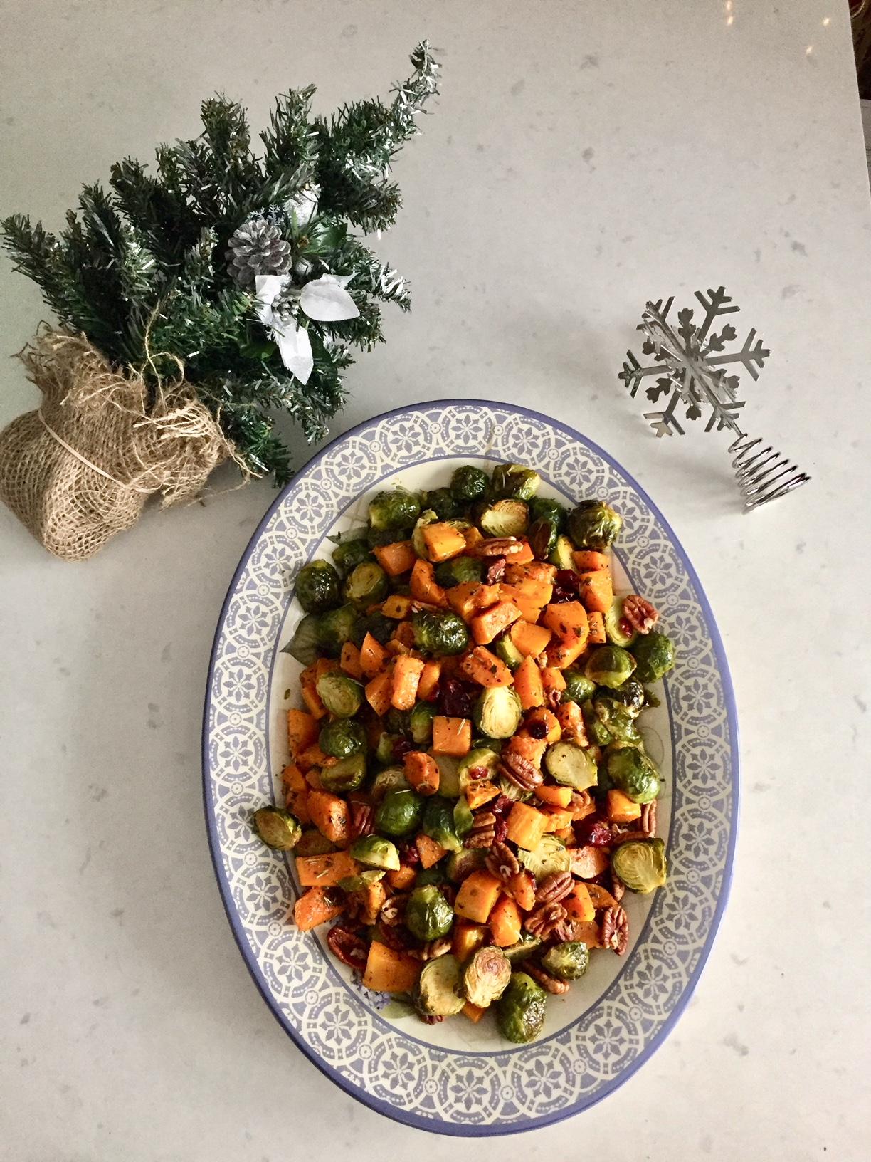 Roasted Brussels Sprouts & Butternut Squash with Cranberries & Toasted Pecans