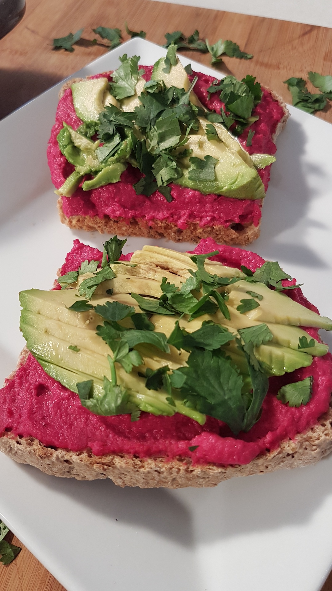 Beetroot Hummus and Avocado Open Faced Sandwich